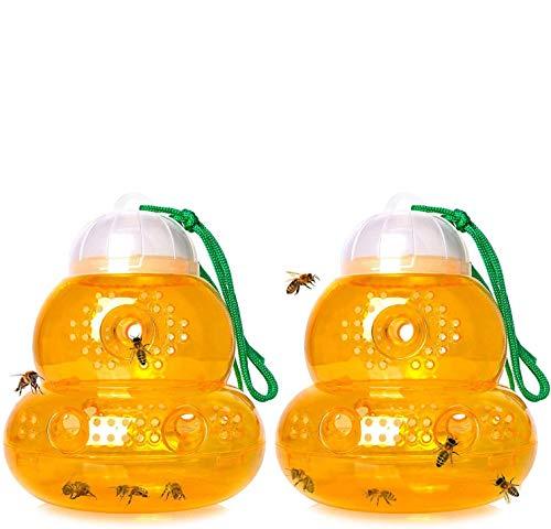 Echden Wespenfalle, Bienenfalle, Hornissenfalle ohne Lockstoff, Abnehmbar&Wiederverwendbar Wespenfänger, Freien Garten Hängende Falle Zum Anlocken Von Wespen Gelbe Jacken Hornissen Und Bienen 2 Stück