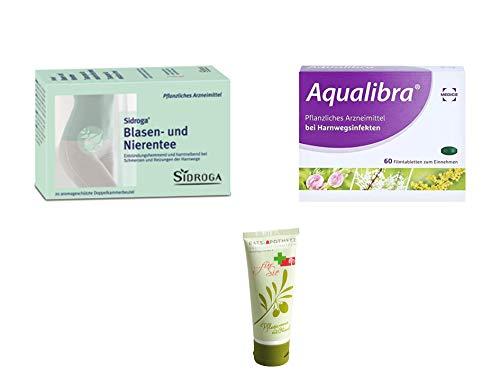 Blasen und Nieren Sparset - Aqualibra Filmtabletten 60 St. & Sidroga Blasen-Nieren-Spültee 40 g Inkl. GRATIS Rats-Apotheke Olivenöl Pflegecreme