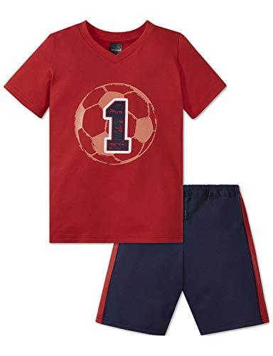 Schiesser Jungen Fußball Kn Anzug kurz Zweiteiliger Schlafanzug, Rot 500, (Herstellergröße: 104)