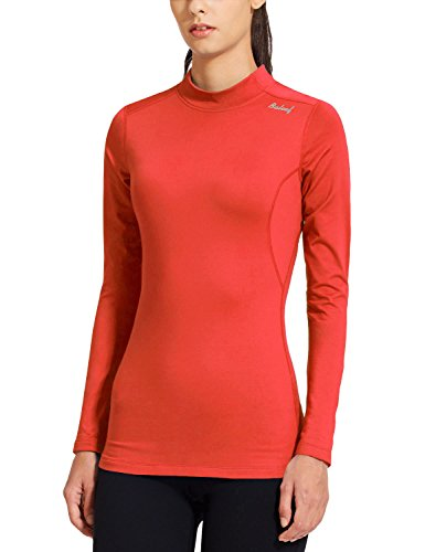 Baleaf Women's Fleece Thermal Mock Neck Long Sleeve Running Shirt Workout Tops Coral Size M