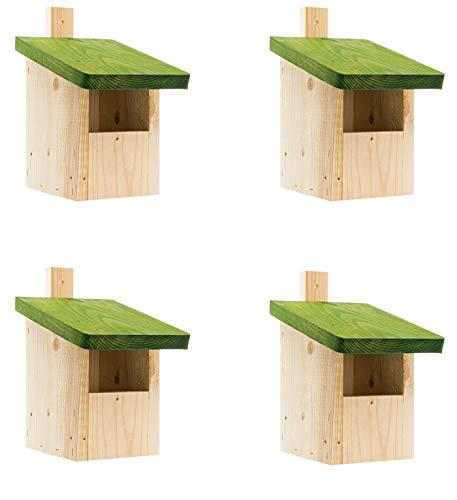 4X-Nistkasten,Meisenkasten Nisthohle aus Holz-NISTKASTENSET Natur,wetterfest