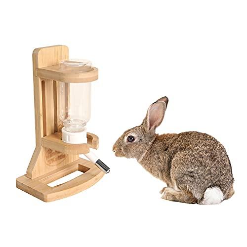 HXRZZG - Borraccia per animali domestici, con supporto, in legno, per criceti, portabottiglie e portabottiglie, regolabile in altezza, per animali domestici di piccola taglia
