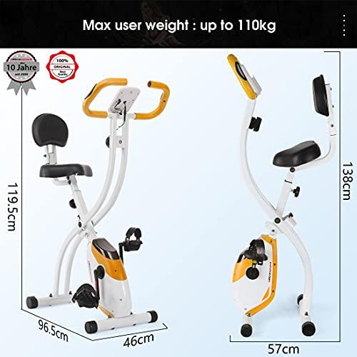 Ultrasport F-Bike 200B - Entrenador Hogar/Bicicleta con Sensores de Pulso de Mano, con Respaldo, 8 Niveles de Resistencia, Plegable