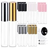 30 Pcs 10ml Lip Gloss Tubes With Wand Empty Refillable Lip Balm Bottles Clear Lip Gloss Containers Black White Pink Gold Silver with Packing Tools
