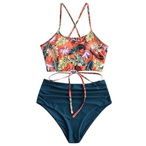 KaloryWee Damen BH Geteilter Badeanzug Bademode Sexy Frauen Bikini Set Print Beachwear Boho Hohe Taille Strandhöschen Zweiteilig