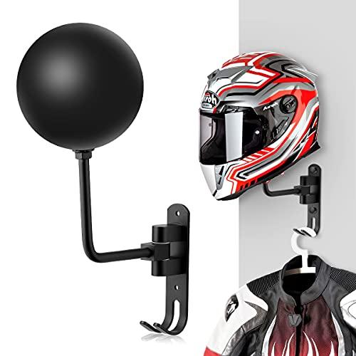 Magicfour Helmet Holder, Helmet Holder for Bike 180 Degree Rotation Helmet Rack Motorcycle with 2 Hooks Helmet Hanger for Coats, Caps, Baseballs and Rugby Helmet
