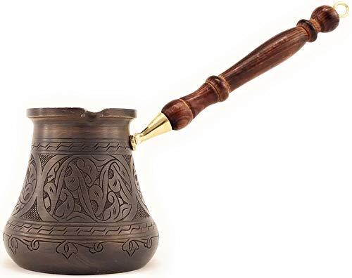 The Silk Road Trade - PCA Serie (XXL) – dickste massive gravierte antike Kupfer-Kaffeekanne, türkisch, griechisch, arabisch, robust mit Holzgriff, Kaffeemaschine Jazzve Cezve Ibrik Briki-28fl.oz