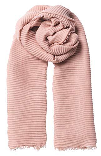Becksöndergaard Schal Damen Asta Povi Scarf Rosa (Rosewood) - Weiches Tuch mit Fransenkante und plissiterter Struktur - Größe 120 x 200 cm - 1900749001-627