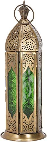 Guru-Shop Orientalische Metall/Glas Laterne in Marrokanischem Design, Windlicht, Grün, Farbe: Grün, 23x8x8 cm, Orientalische Laternen