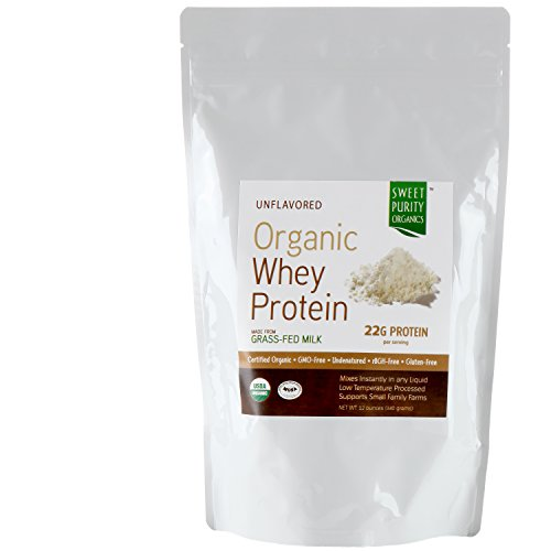 GRASS FED ORGANIC - #1 Tasting Whey Protein Powder Best Tasting - Best Natural GMO Free, Undenatured, Gluten Free Concentrate (Not Isolate) - Great in Shakes for Weight Loss and Building Muscle