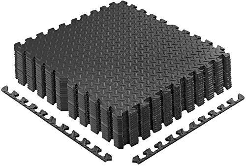 creatspaceDE 60x60 Bodenschutzmatte Schutzmatte Fitness Unterlegmatten Bodenmatte Schwarz Holzoptik Grau (schwarz 12 Stück)