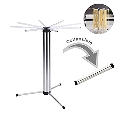 Collapsible Pasta Drying Rack-Compact for Easy Storage -Rotary Arms for Easy transfer - Detachable for Easy Cleaning - Noodle Spaghetti Dryer Stand for up to 6 lbs of Homemade Noodles