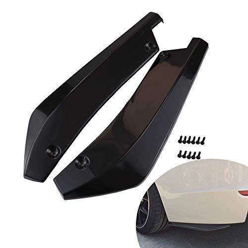 Rear Bumper Diffuser Universal Car Side Fender Skirt Lip Splitter Canard Protector 1 Pair Carbon Fiber/Black (Black)