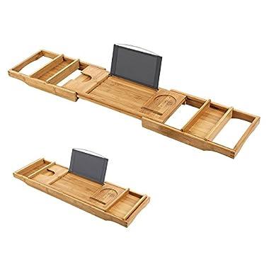 KOBWA Bamboo Bath Tray, Retractable Bamboo Wood Bathtub Bath Tray,Tub Caddy Rack Built In Secure Tablet Kindle Ipad Smartphone Holder,Book Rest Wine Glass Slots Bath Tray