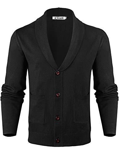 iClosam Mannen gebreide jas Cardigan V-hals Warmer en slim-fit gebreide trui voor herfst en winter S-XXL