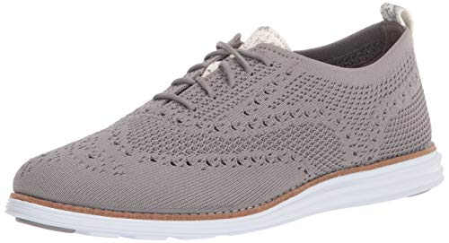 Cole Haan Women's OG GRD STCHLT WNG OX:Ironstone Oxford, Ironstone Knit/Chalk Python Printed Leather/Optic White Sole/Ironstone Rubber PODS, 8.5