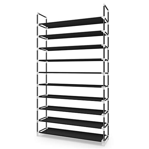 Awenia 10 Tiers Shoe Rack Organizer 60 Pairs,Adjustable Shoes Shelf Tower Metal Tall for Closet with Spare Parts,DIY Assembly, Black