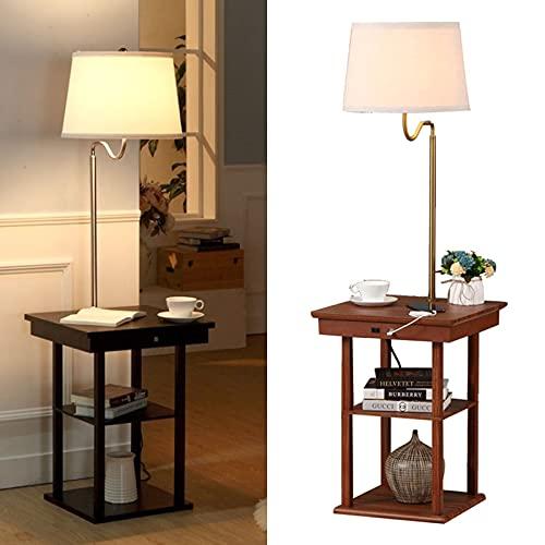 0℃ Outdoor Lámpara de Pie con Estantes - Modernas Luces LED Altas con Base de Carga - 2 Puertos USB y 1 Toma de Corriente - Lámparas para Salón, Dormitorio y Oficina,Walnut
