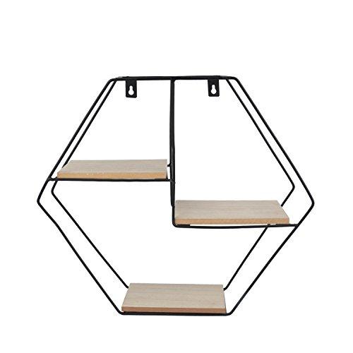 Prateleira Metal/Madeira Geo Forms Hexagon Urban Preto