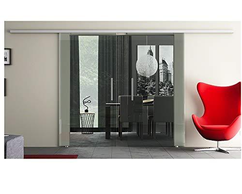 Glasschiebetüren mit 2 Scheiben mit Dorma Agile 50 ® Laufschiene, Sicherheitsglas ESG in Klar - Glas & Laufschiene Made in Germany - Glas-Maße: 2 x 1025 x 2175 mm