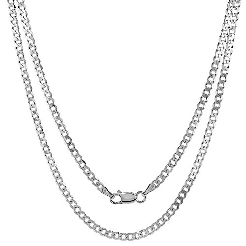 Hot Sale Sterling Silver Italian Curb Chain Necklace 3mm Beveled Edge Nickel Free, 30 inch