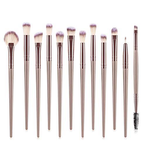 LIANMIBA Kosmetika 12 stücke Makeup Pinsel Set Eye Pinsel Makeup Kleine Fan-förmige Bürste Multifunktionale Schönheit Werkzeug (Handle Color : Brown)