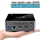 Mini PC, Beelink J34 Windows 10 64-bit 8GB/128GB SSD Intel Apollo Lake J3455 Processor, Supports Auto Power On/2.5'' HDD & SSD/4K/Dual HDMI/Dual WiFi/Gigabit Ethernet/Fan, Mini Computer (8+128GB SSD)