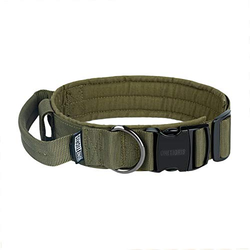 OneTigris K9-Halsband mit Metallschnalle für Hunde (Ranger Grün, M)