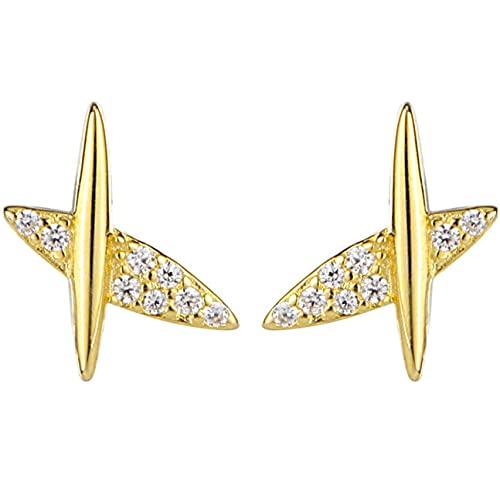kkkl Ins Style - Orecchini a forma di aereo in argento puro, con diamanti