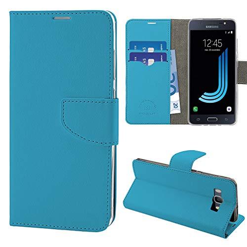 N NEWTOP Cover Compatibile per Samsung Galaxy J5 (2016) J510, HQ Lateral Custodia Libro Flip Chiusura Magnetica Portafoglio Simil Pelle Stand (Azzurro)