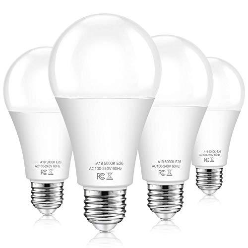Dusk to Dawn Light Bulbs Outdoor 100 Watt Equivalent, 11W Automatic On/Off Sensor Light Bulb Daylight 5000K, A19 Outdoor LED Light Bulbs Photocell for Porch Garage Yard Security, E26 Base, 4-Pack