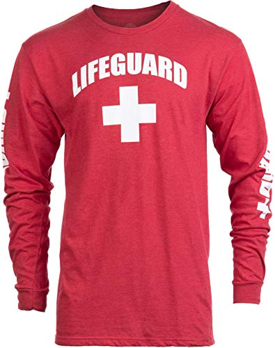 Lifeguard | Red Guard Unisex Uniform Costume Long Sleeve T-Shirt for Men Women - Red, M