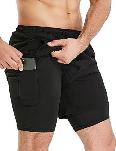 HOPLYNN Herren 2 in 1 Laufshorts Schnelltrocknende Fitness Sporthose mit Reißverschluss Running Sport Kurze Hosen Training Jogginghose mit Tasch-Schwarz-XL