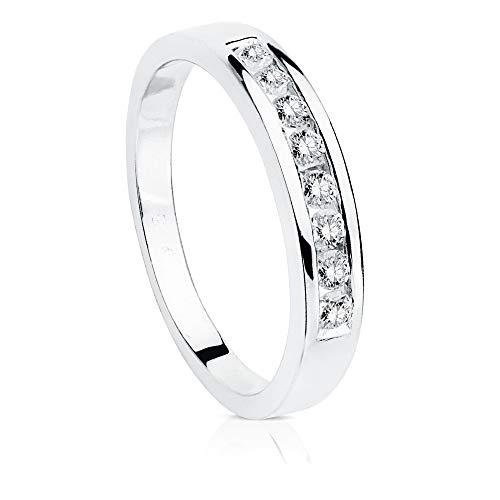 Alianza oro blanco 18k lisa acabado pulido centro carril 8 diamantes 0.240ct. brillantes