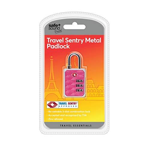 Safe and Sound Reise-Vorhängeschloss aus Metall, mit Zink-Legierung und zurücksetzbarer 3-stelliger Kombination. Farbe wird variieren