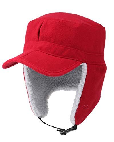 HunterBee Red Winter Warm Fleece Kids Boys Men Visor Trapper hat Ear Coverage/Hunting Earflaps Brim hat Cap with Bill/Bomber Hats Alaskan hat Cap with Faux Fur