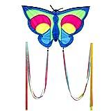 Wolkenstürmer Niños Flying Dragon Butterfly - 1 línea de cometa para principiantes para niños, con postes