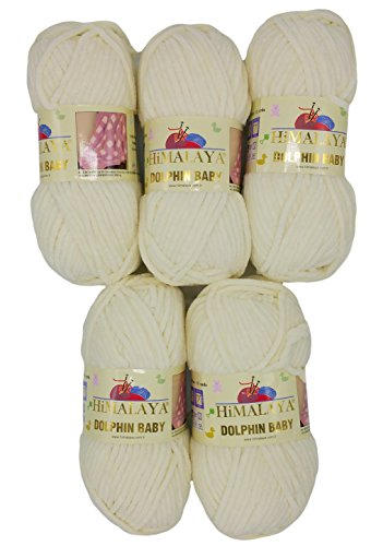 Himalaya Dolphin Strickwolle 5x100 Gramm, Babywolle, 500 Gramm Wolle Super Bulky 600 m (Off-White 80308)
