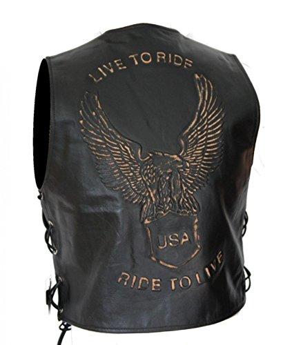 Kc502 Bolero-vest, leer, zwart, Karno Live To Ride USA 4XL zwart.