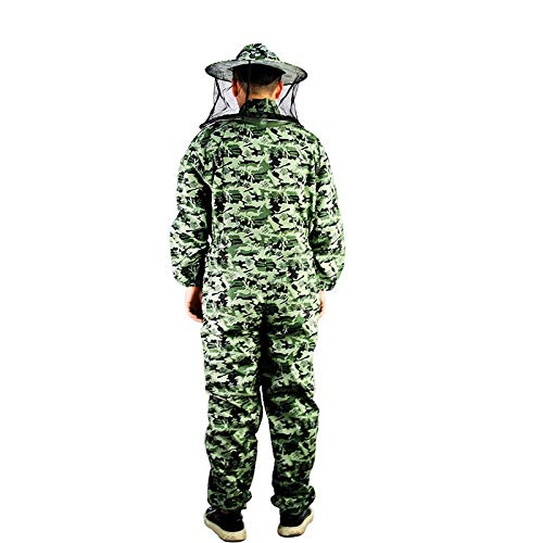 MINGMIN-DZ Dauerhaft Bienenzucht Anzug mit runden Schleier, Bienen-Wächter-Outfit mit abnehmbaren Schleiern und Unisex Sizing, Tarnfarbe Imker Anzug (Size : L)