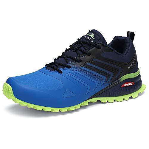 Dannto Zapatillas de Deporte Hombre Zapatos para Correr Aire Libre y Deporte Athletic Cordones Zapatillas De Running Trail Tenis Basket Respirable Gimnasio Sneakers (Azul-B,42