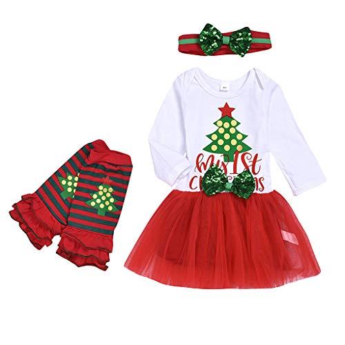 Fossen Kids - Pijamas Casero de Recién Nacido Bebé Navidad, Calcetines de Lunares + My First Chirstmas Mono Tutú a Cuadros + Diadema 3 PC