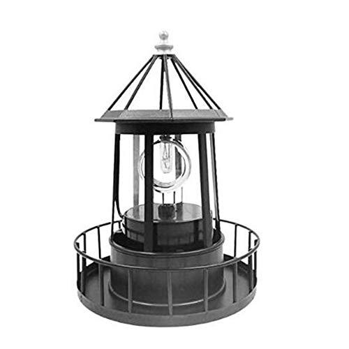 Solar LED Leuchtturm Lichter Garten Ornamente Laterne Große Rotierende wasserdichte Außenlampe Für Deck Zaun Lichter Yard Patio Beleuchtung x (Color : Black)