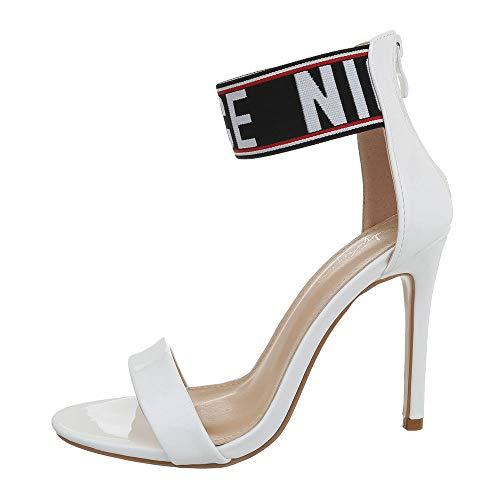 Ital-Design Damenschuhe Sandalen & Sandaletten High Heel Sandaletten Synthetik Weiß Gr. 36