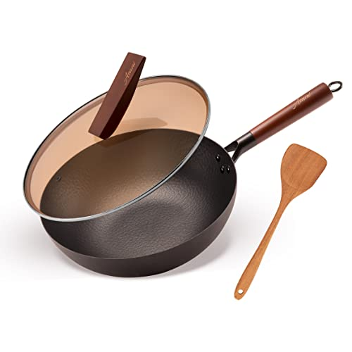 Carbon Steel Wok with Lid and Wooden Spatula, 12.5 Inch Flat Bottom Wok Pan for Gas, Electric, and...
