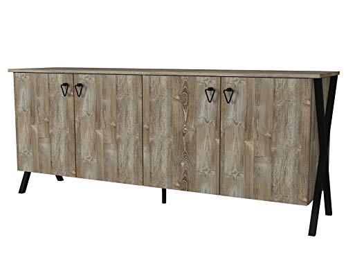 Alphamoebel 4876 Zeth Sideboard modern Kommode Schrank TV Lowboard, mit Metallfüße, 4 Türen, viel Stauraum, 4 Regalfächer, für Wohnzimmer, Holz, Eiche, 180 x 76,8 x 44,8 cm