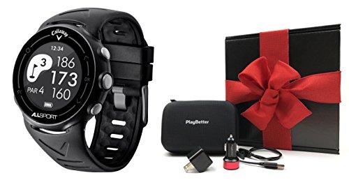 Callaway ALLSPORT Golf & Fitness GPS Watch Gift Box | Includes Multi-Sport Golf & Fitness GPS Watch, PlayBetter USB Car & Wall Adapter, Hard Carrying Case | Black Gift Box