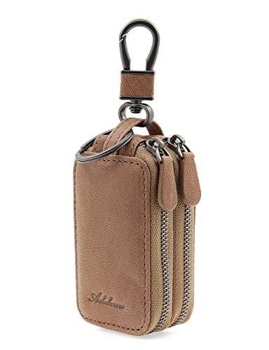 AslabCrew Car Key case Genuine Leather Car Smart Key Chain Keychain Holder Metal Hook and Keyring Zipper Bag for Remote Key Glam-PrussianBlue