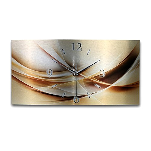 Kreative Feder Abstrakt Gold Metallic Designer Funk Wanduhr Funkuhr modernes Design * Made in Germany* WAG019FL * leise kein Ticken (50x25)