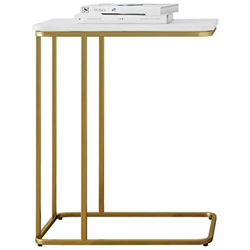 Side table-Q Mesa Tabla de Metal Sofá, patrón de mármol Hierro Forjado Soporte Lateral del rectángulo Vector del café Sala de Estar Balcón de Ocio Mesa de té Mesa de negociación